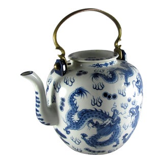 Chinese Blue Dragon Porcelain & Brass Teapot For Sale