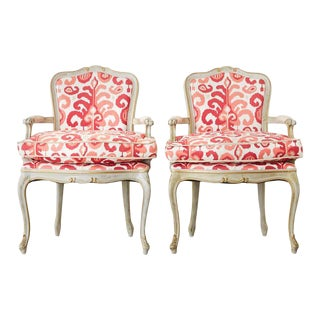 French Louis XV Style Painted Fauteuil Armchairs - a Pair For Sale