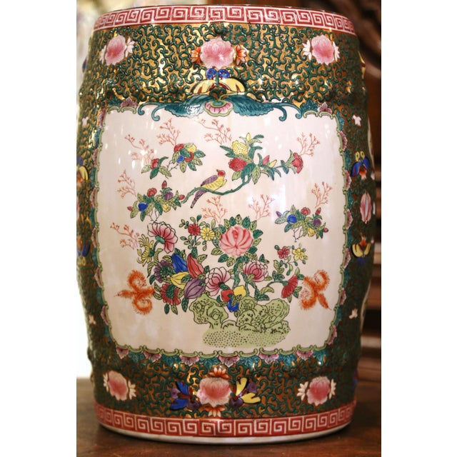 Mid 20th Century Mid-Century Chinese Porcelain Garden Stool With Bird and Floral Decor For Sale - Image 5 of 13