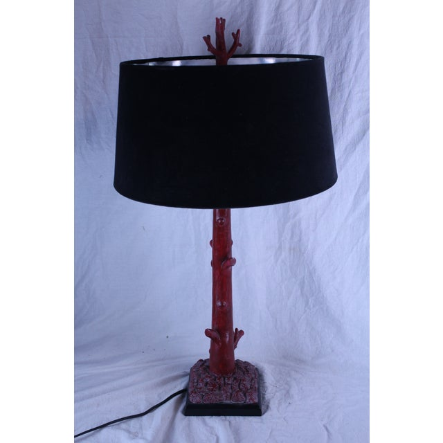 20th Century Art Deco Red Coral Lamp For Sale In New York - Image 6 of 7
