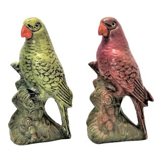 Vintage Hand Painted Cement Parrot Figurines A-Pair For Sale