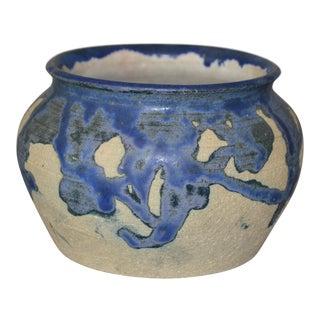 Eli Hanemann Vintage Dripping Glazed Blue & Beige Pottery Ceramic Bowl Signed For Sale