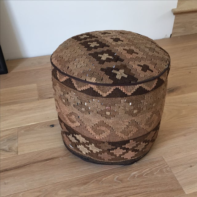 Kilim Upholstered Stool Ottoman - Image 2 of 4