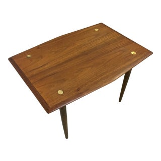 Dux of Sweden Teak Side Table with Brass Accents For Sale