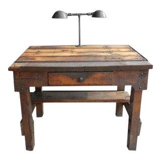 Antique Industrial Oak Desk