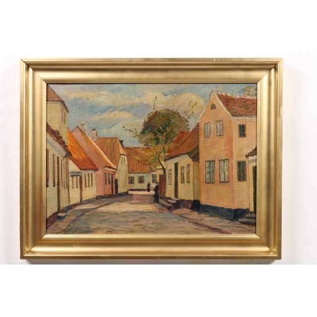 "1929 Andreas Moe ""Village in Late Summer"" Painting - Image 2 of 3"