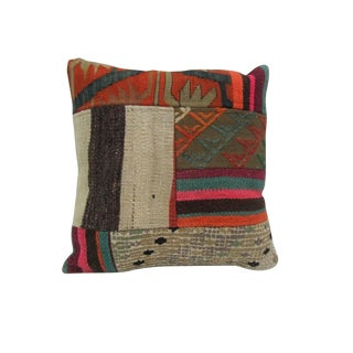Vintage Handmade Patchwork Kilim Pillow Cover For Sale