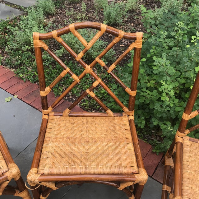 1960s 1960s Traditional Bamboo and Rattan Chairs - Set of 4 For Sale - Image 5 of 11