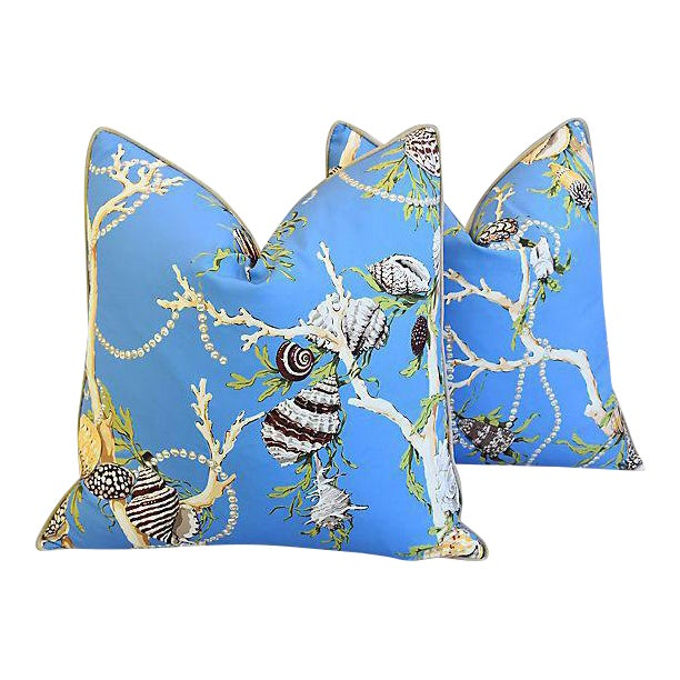 """Designer Nautical Blue Coral & Shells Feather/Down Pillows 26"""" Square - Pair For Sale"""