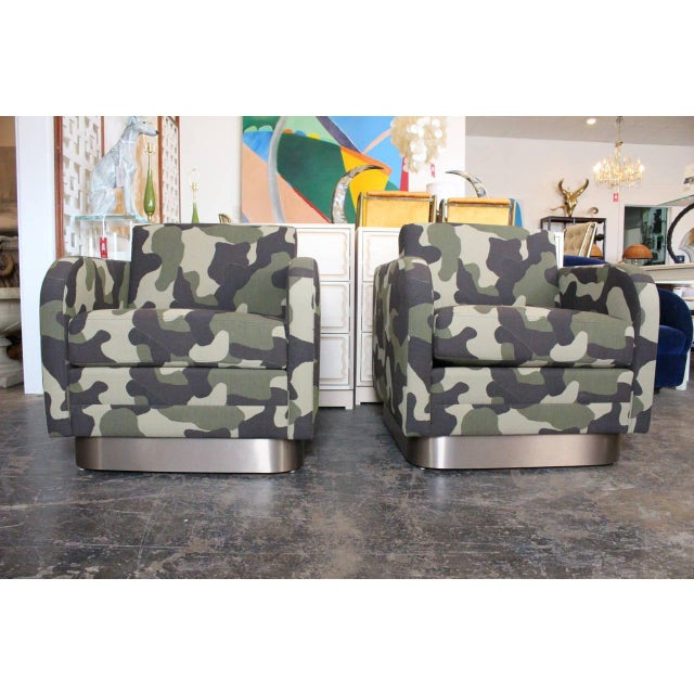 Camouflage Cube Chairs With Bronze Plith - Pair - Image 2 of 8