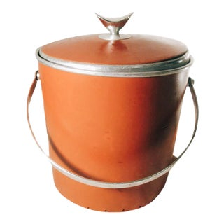 Vintage Mid-Century Modern Regal Ware Leather Covered Aluminum Ice Bucket For Sale