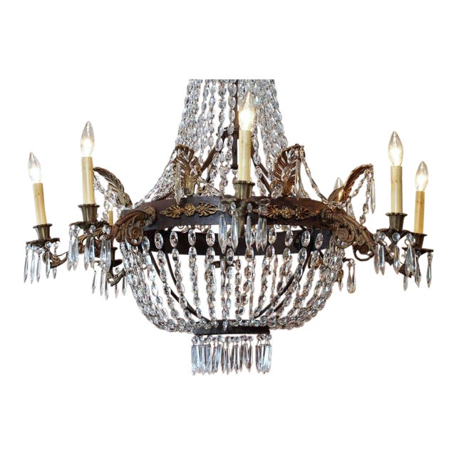 Antique French Empire Crystal and Bronze Eight-Light Chandelier For Sale