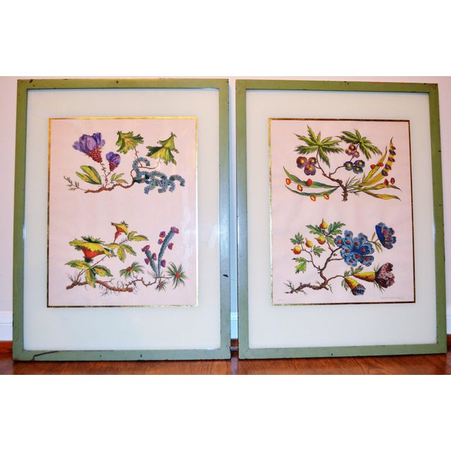 French Chinoiserie Hand Colored Floral Prints - Image 3 of 11