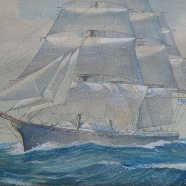 Framed Ship Watercolor Painting For Sale In New York - Image 6 of 11