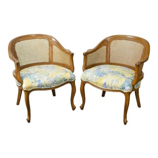 French Louis XV Style Vintage Pair of Barrel Back Caned Bergere Chairs For Sale