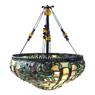 Antiqued Tiffany Style Stained Glass Chandelier For Sale