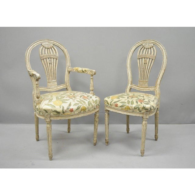 """Set of 6 vintage Louis XVI French style hot air balloon back """"Montgolfier"""" dining chairs. Item features 4 side chairs, 2..."""