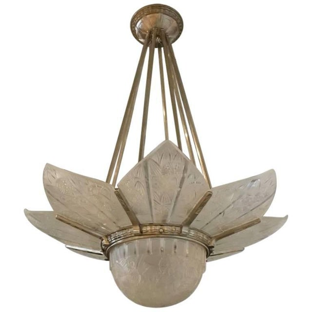 French Art Deco Starburst Chandelier Signed by Hettier Vincent For Sale - Image 13 of 13