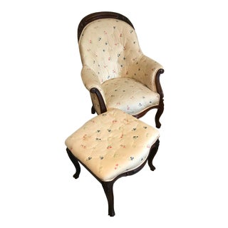 Victorian Slipper Chair and Ottoman For Sale