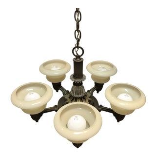 Art Deco Five Light Chandelier For Sale