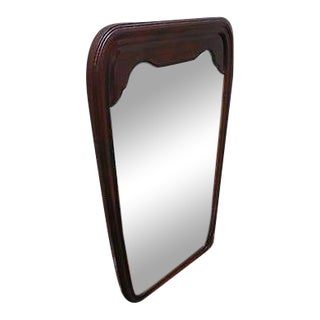 Henredon Oriental Style Mahogany Frame Hanging Wall Mirror For Sale
