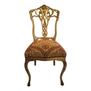 French Antique Louis XV Style Giltwood Vanity Chair For Sale