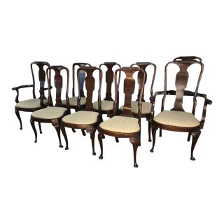 Early 21st Century Vintage Queen Anne English Mahogany Dining Chairs- Set of 8 For Sale