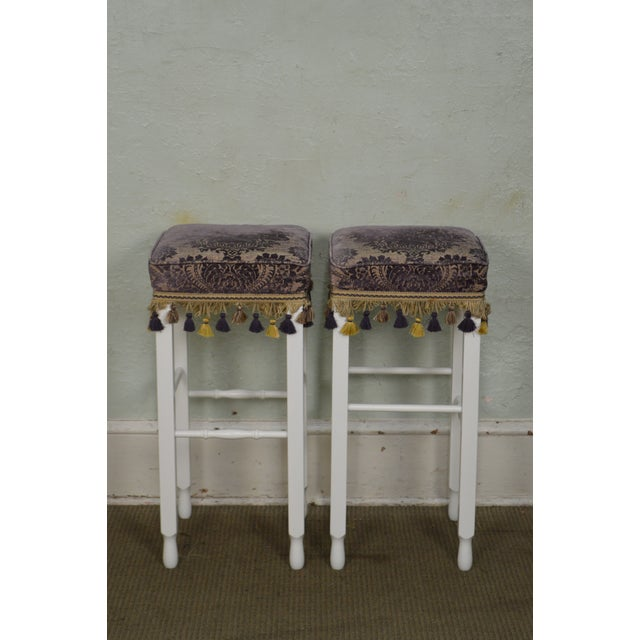 White Bar Stools w/ Upholstered Seats - Set of 4 For Sale - Image 10 of 11