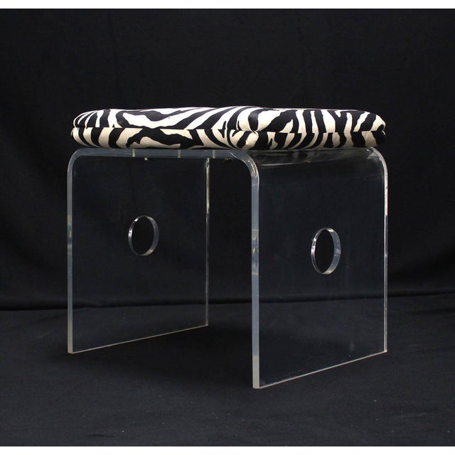 Pair of Bent Lucite Benches with Zebra Upholstery Cushions For Sale - Image 4 of 8