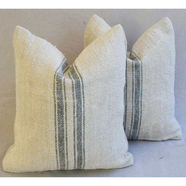 Custom French Gray Stripe Gain Sack Feather/Down Pillows - Pair - Image 2 of 8