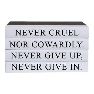 Never Give Up Quote Book Stack - 4 Pieces For Sale