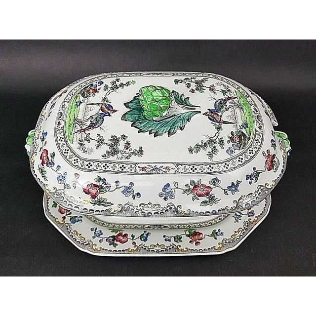 Mid 20th Century Copeland Late Spode Artichoke Peacocks Serving Tureen With Lid & Underplate For Sale - Image 5 of 5
