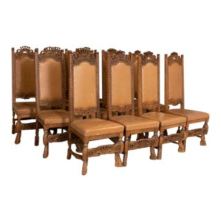 Antique Set of 12 High Back Oak Dining Chairs With Carved Crown Details For Sale