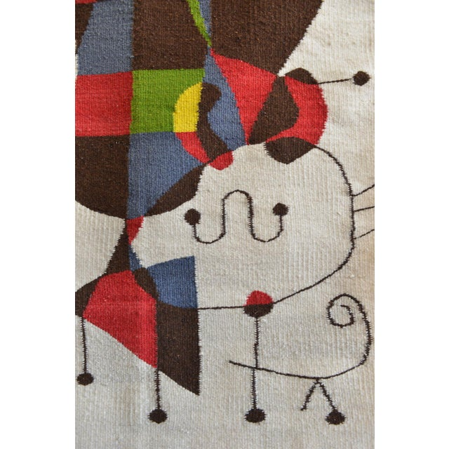 1965 Miro Style 'Upside Down Figures' Tapestry For Sale In Los Angeles - Image 6 of 9