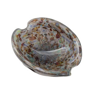 Murano Millefiori Art Glass Bowl With Silver Leaf For Sale