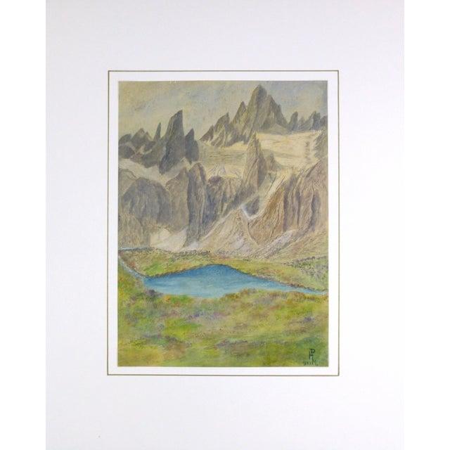 Vintage Landscape Watercolor of Jagged Peaks, 1951 - Image 3 of 3