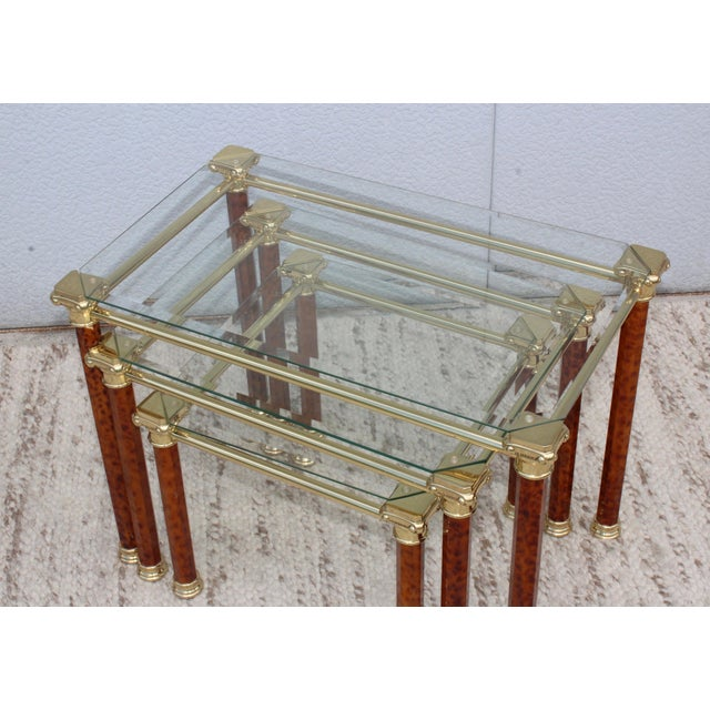 Gold 1980s Italian Brass Nesting Tables For Sale - Image 8 of 11