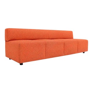 Mid-Century Modern Orange Upholstery Steelcase Sofa Booth For Sale