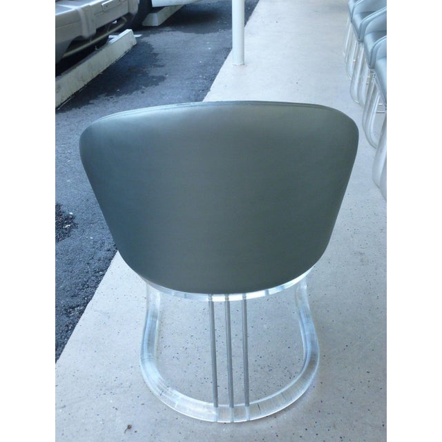 Metal 1970's Lion in Frost Swivel Tubular Lucite with Chrome Dining Chairs - Set of 6 For Sale - Image 7 of 12