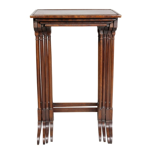 Brown Regency Mahogany Quartetto Tables - Set of 4 For Sale - Image 8 of 12