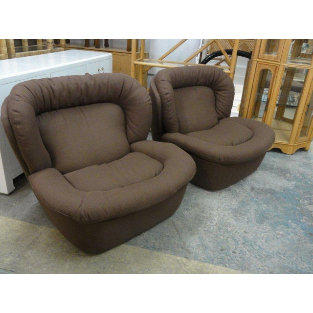 Newly Upholstered Brown Modern Lounge Chairs - a Pair - Image 5 of 5
