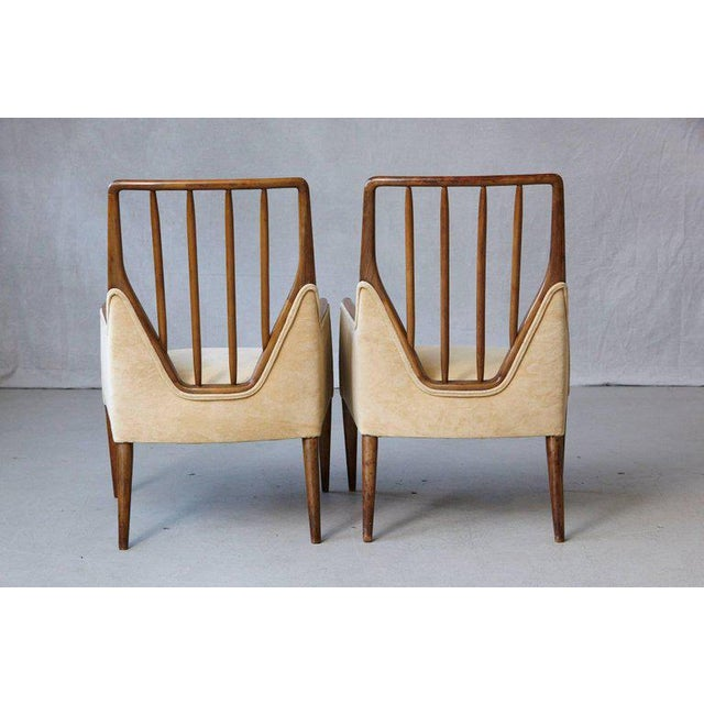 Danish Modern Pair of Mid-Century High Back Walnut Lounge Chairs For Sale - Image 3 of 10