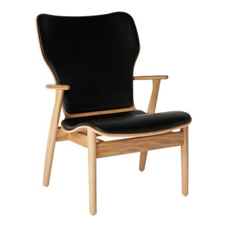 Ilmari Tapiovaara Domus Lounge Chair in Oak and Black Leather for Artek For Sale