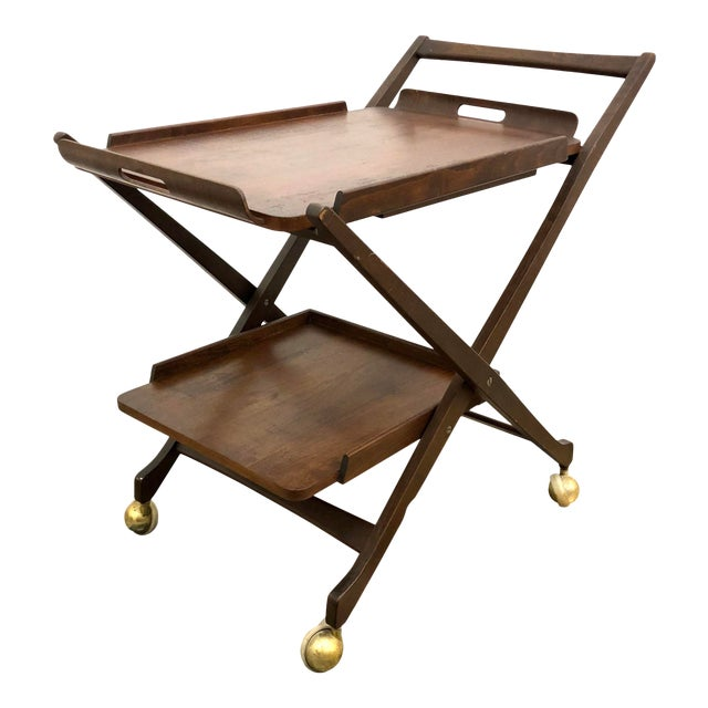 Mid-Century Modern Danish Style Folding Rolling Bar / Tea Cart For Sale