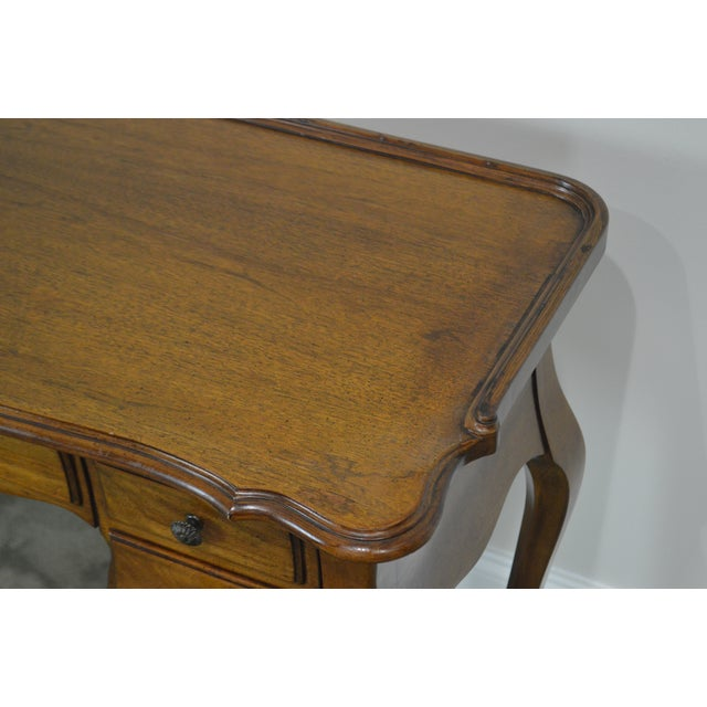 French Louis XV Style Vintage Walnut Small Writing Desk or Vanity For Sale - Image 11 of 13