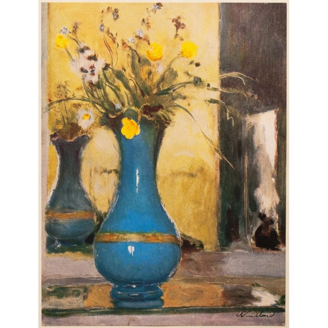 An excellent and beautiful vintage tipped-in paper lithograph after Le Vase Bleu (The Blue Vase) painting by French artist...