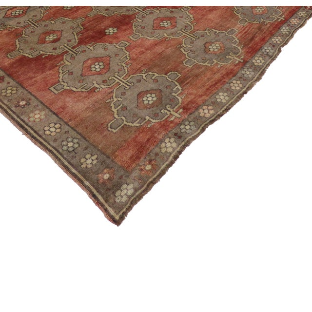Art Deco Modern Traditional Vintage Turkish Oushak Rug With Jacobean Style, 07'06 X 11'04 For Sale - Image 3 of 10