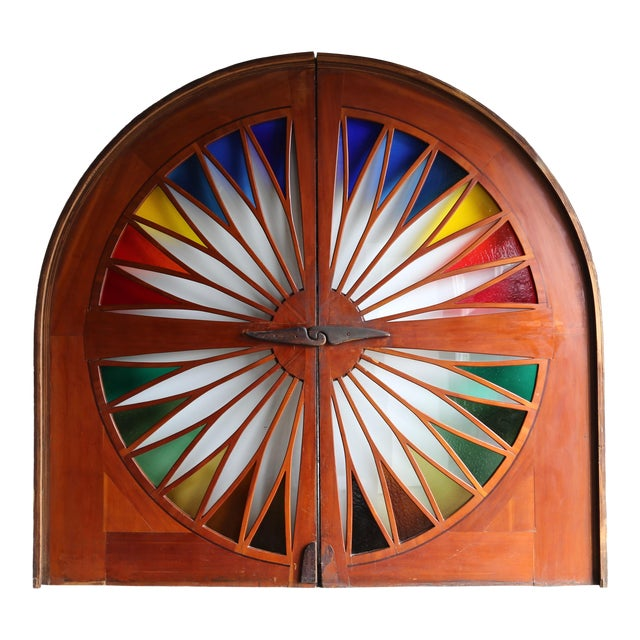 Monumental Stained Glass Sliding Doors Circa 1970 - a Pair For Sale