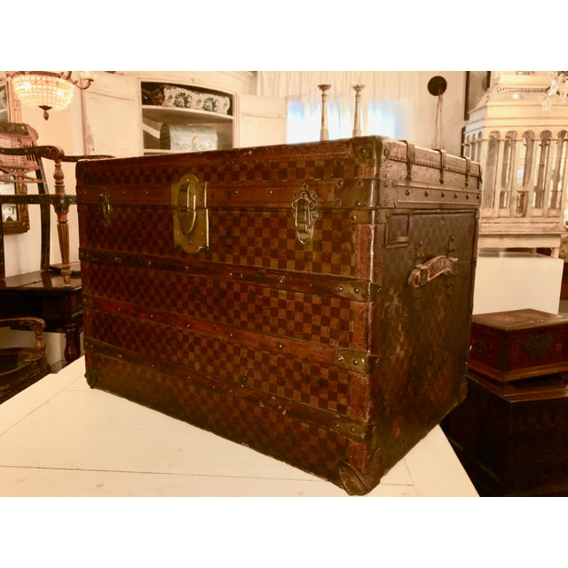 Animal Skin Early 1900s Moynat Damier Pattern Steamer Trunk For Sale - Image 7 of 7