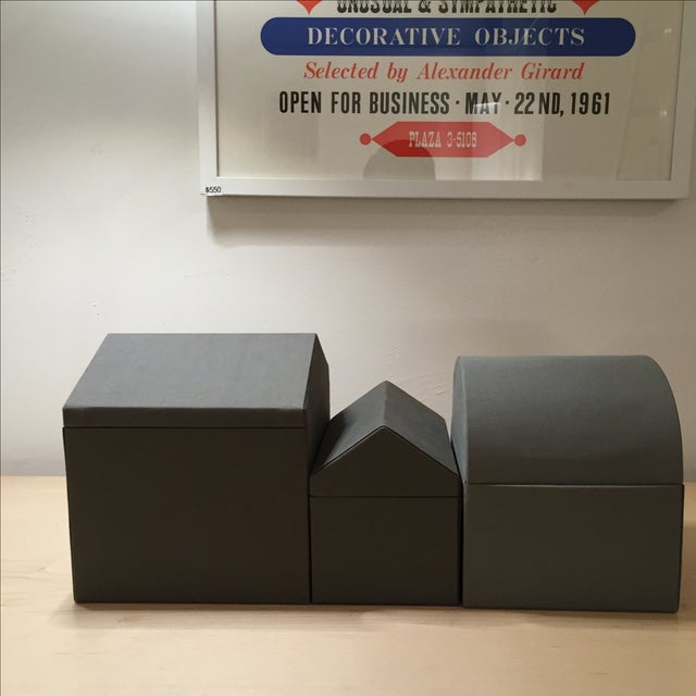 Danish Modern Gray Architectural Boxes - Set of 3 - Image 5 of 6